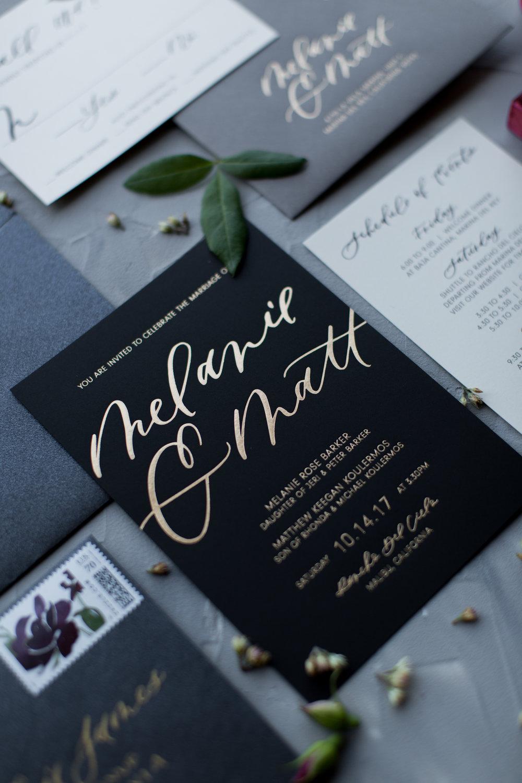 gold black burgundy wedding invitations