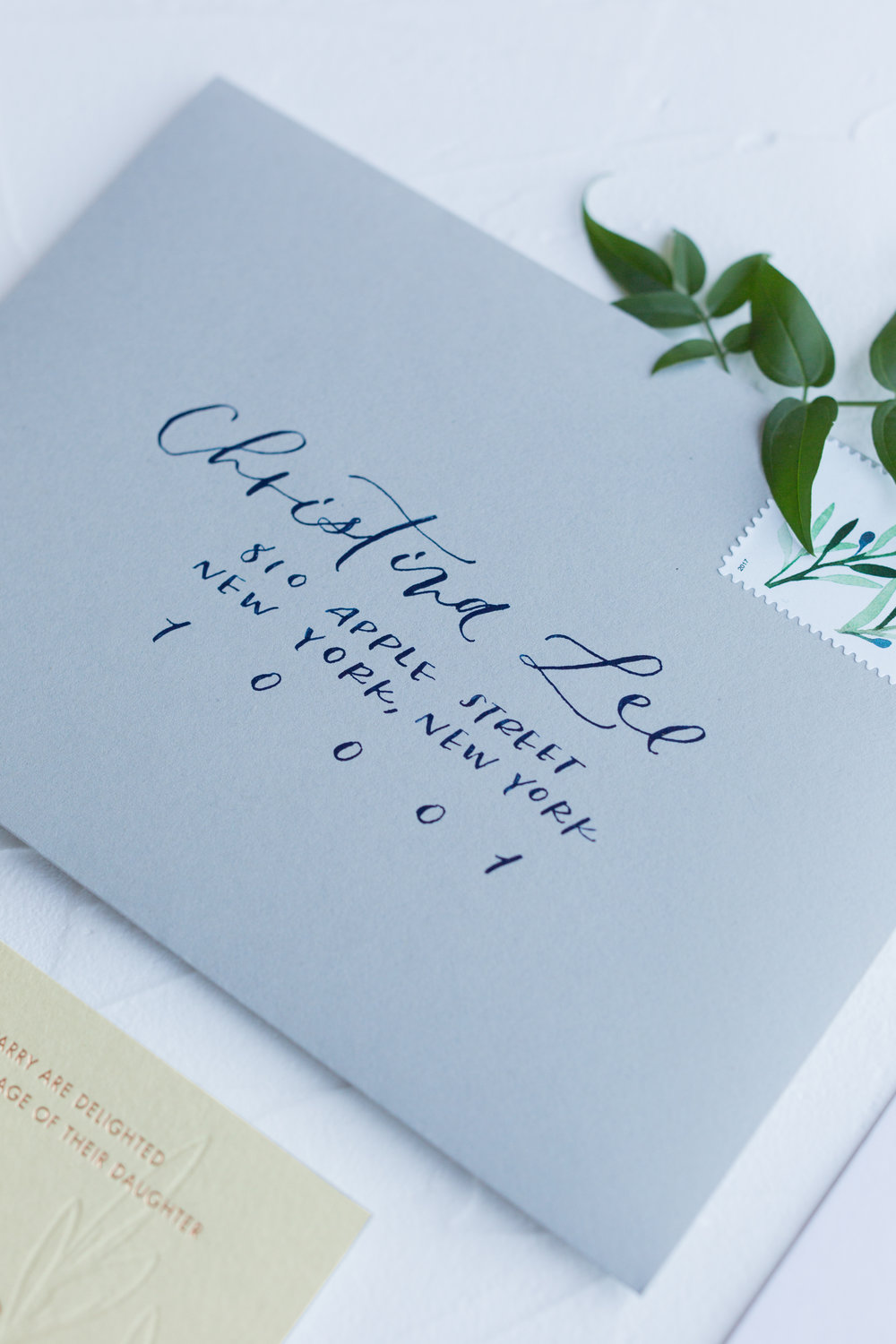 navy envelope calligraphy