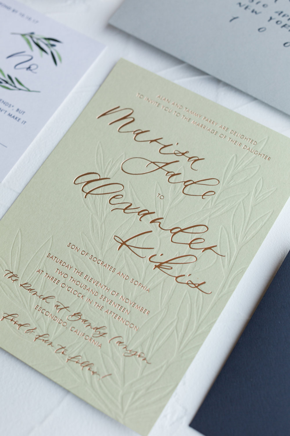 foil and blind letterpress invitation