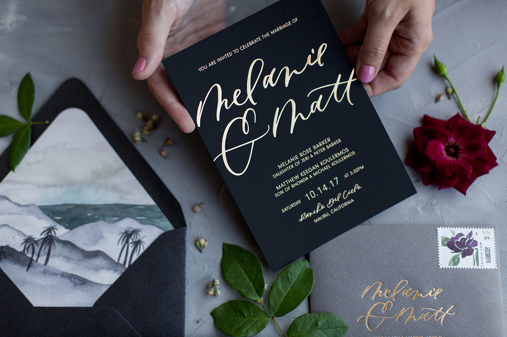 Black and gold moody wedding invitations
