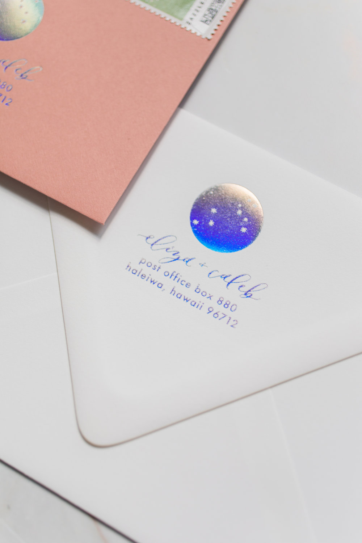 holographic foil wedding envelope