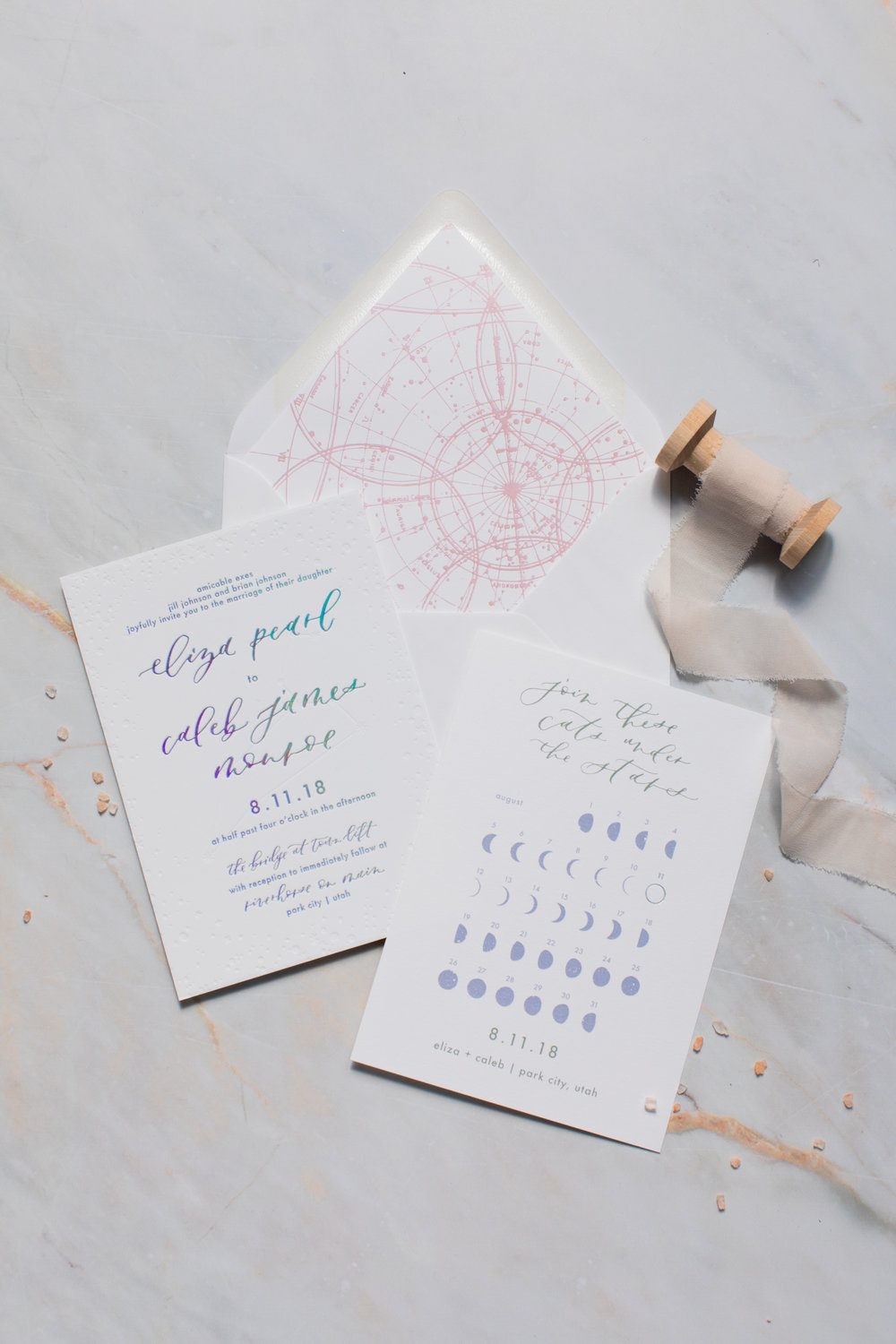 Celestial wedding invitations save the dates
