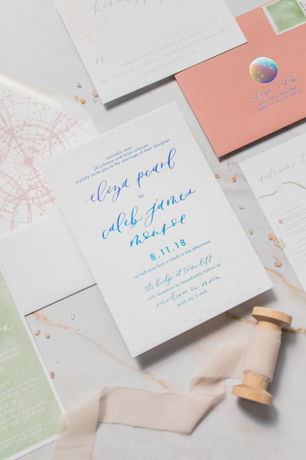 Starry holographic wedding invitations