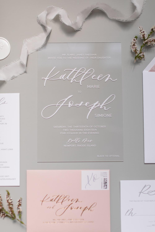 Acrylic and dusty pink wedding