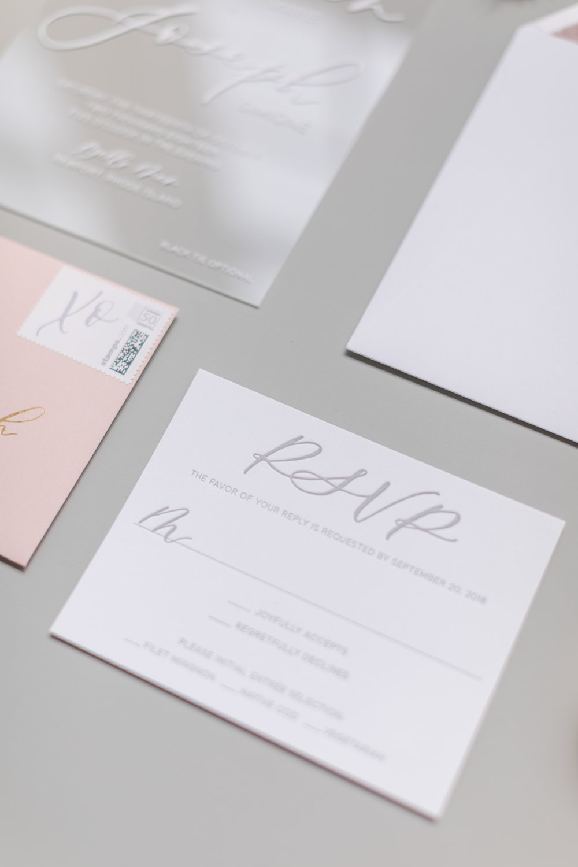 letterpress and acrylic wedding invitation