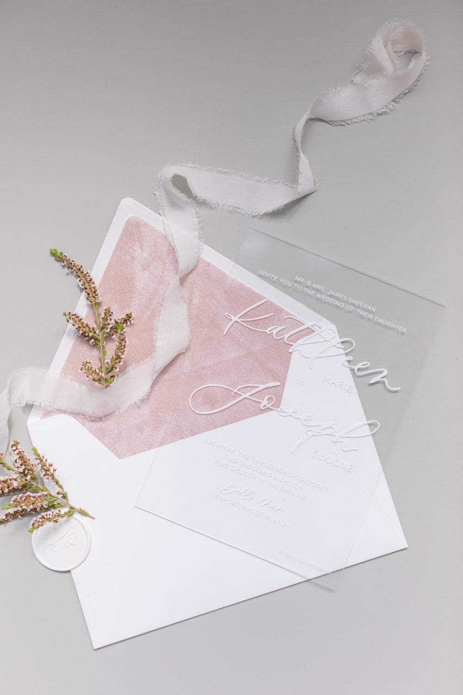 Velvet wedding invitation