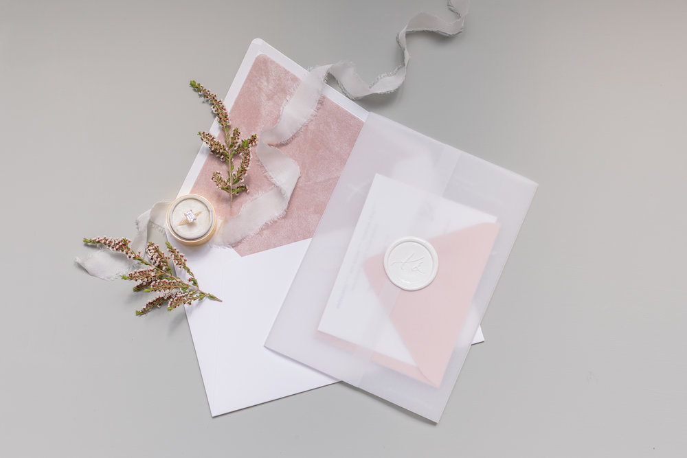 Velvet acrylic vellum wedding invitations