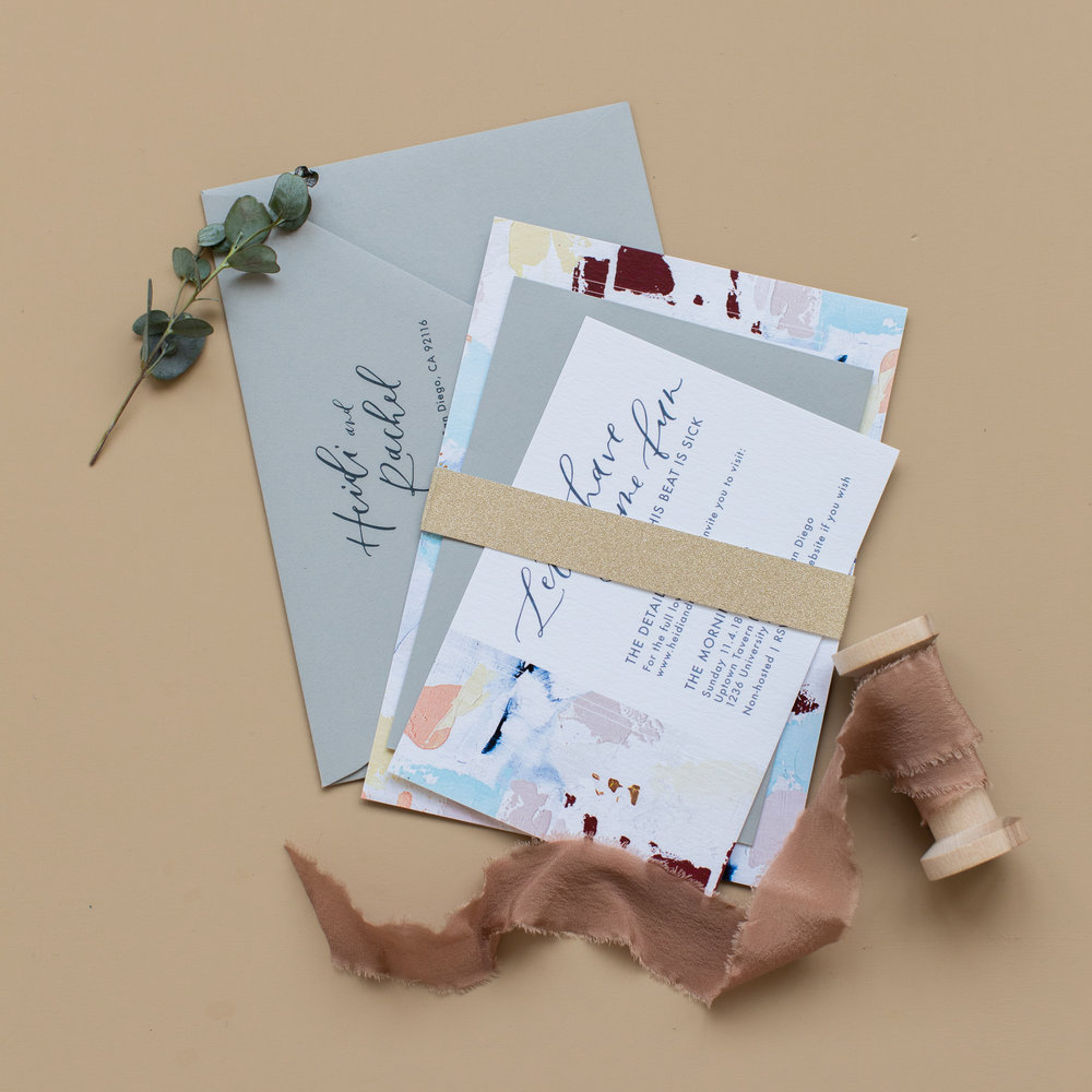 Modern wedding invitation belly band