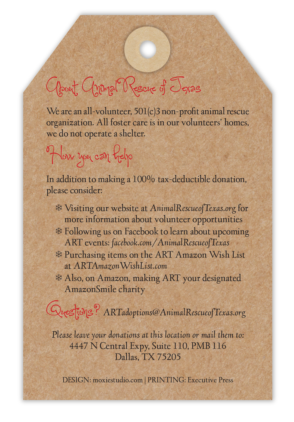 Animal Rescue of Texas Angel Tree Tags - Back
