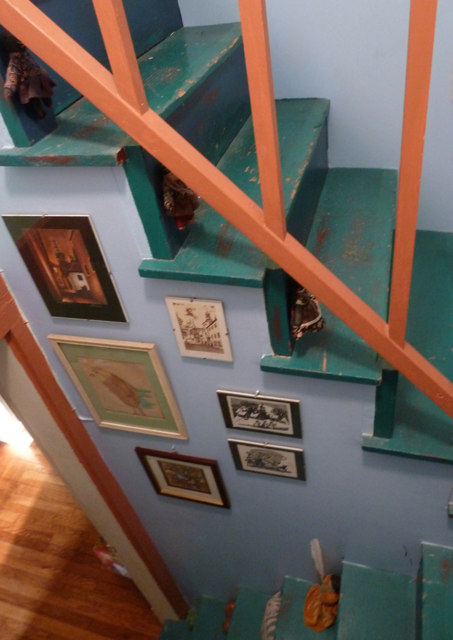 My commute is short. Up the stairs, turn to the right and the whole attic is filled with clay and books and art and toys.