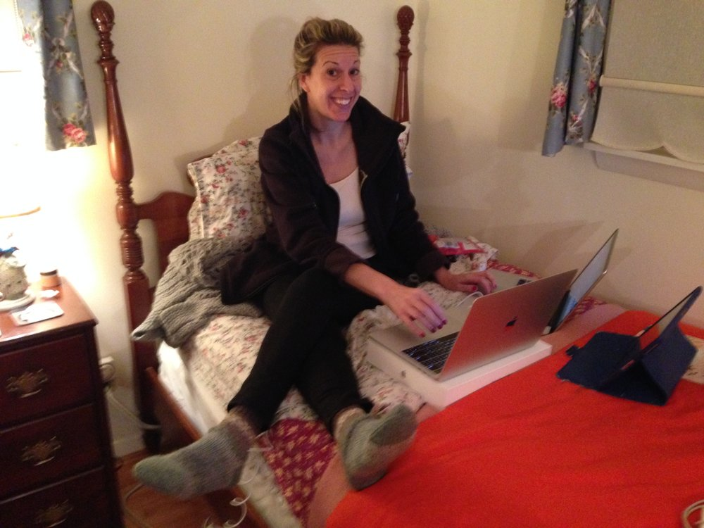 Behind-the-scenes imperfection. Caroline working over her holiday break from Command Central aka The Colonial Room aka Her Mom's Guest Bedroom.