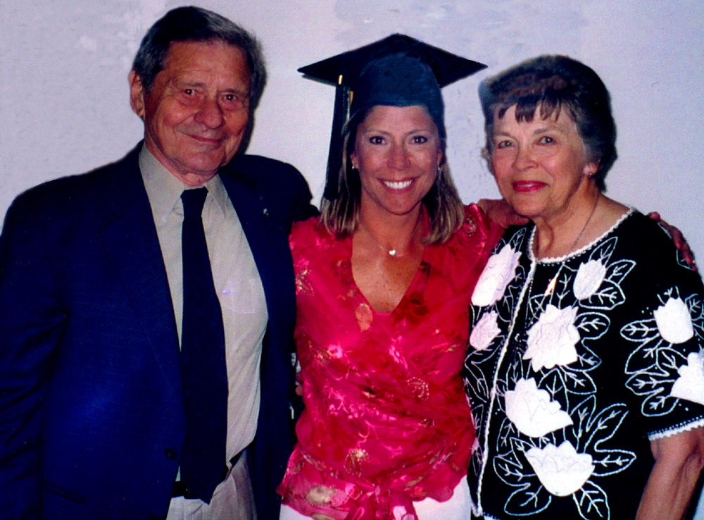 Ann and Jake Jacobson with daughter Gretchen (Zelter) on the occasion of her graduation from Marymont University in May 2004.