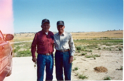 Frank Borman and Don Payne at Frank's ranch, called River Bend Ranch. August 31, 2003.