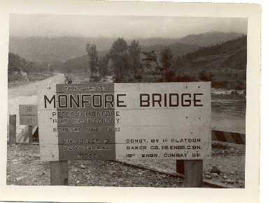 From Jake Jacobson - a photo of Monfore Bridge in Korea he took late '52 or early '53. Note on inscription Pete was awarded the DSC.