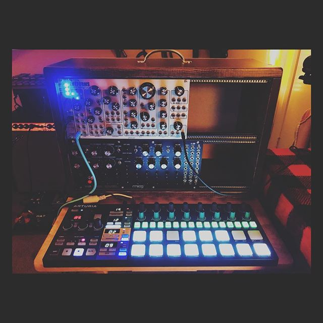 I made this case today from a 6 foot plank of wood. I feel pretty capable right now as a human being. #modular #modularsynth #dfam #moog #sv1 #pittsburghmodular #losangeles #producer #electronicmusic #arturia #beatsteppro #synthesis