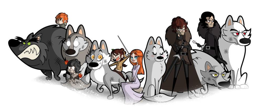 Rickon Stark & Shaggydog, Bran & Summer, Arya & Nimerya, Sansa &Lady, Robb &Greywind, Jon & Ghost.