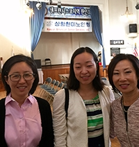 Sun Hwang (middle) with CGC team members Yoon Cho (left) and Sophia Oh-Kim (right)