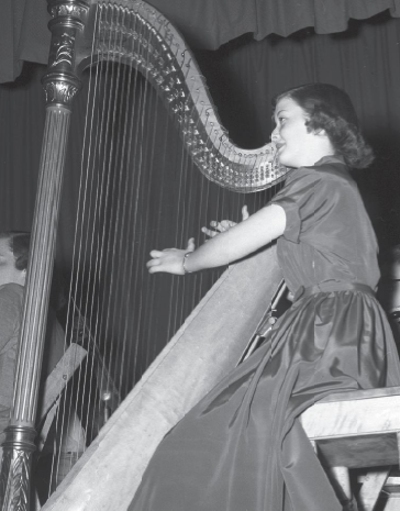 Harpist and Walla Walla Symphony member Rosalind King, 1953