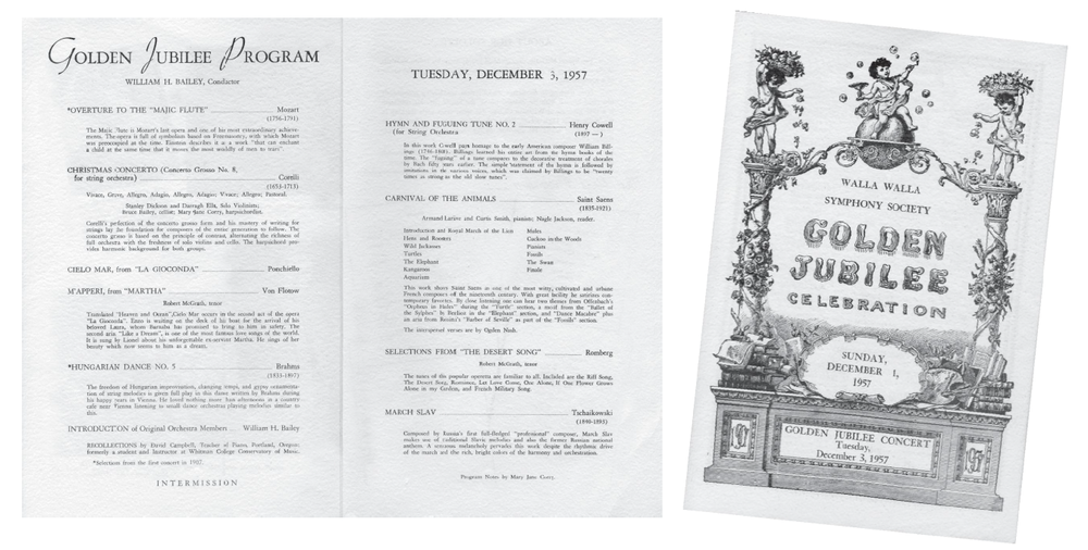 The program from the Walla Walla Symphony's Golden Jubilee Celebration, 1957