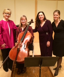 Performers at the Guest Artist Soiree (L to R): Jackie Wood, Sally Singer, Diane Gray Chamberlain, Amy Dodds