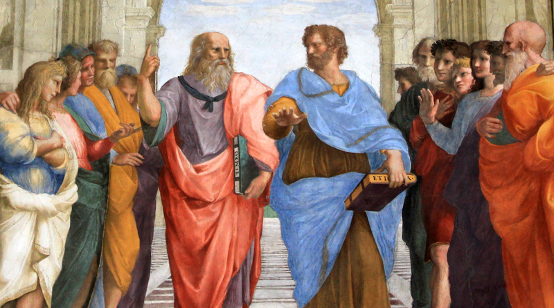 Plato and Aristotle walking and disputing. Detail from Raphael's The School of Athens (1509-1511)