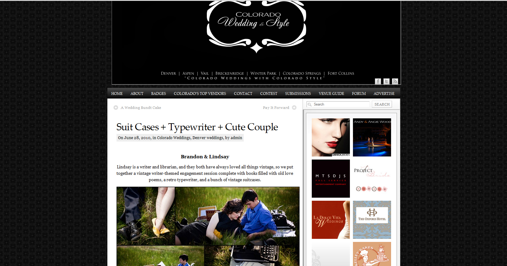 http://coloradoweddingstyle.com/2010/06/suit-cases-typewriter-cute-couple/