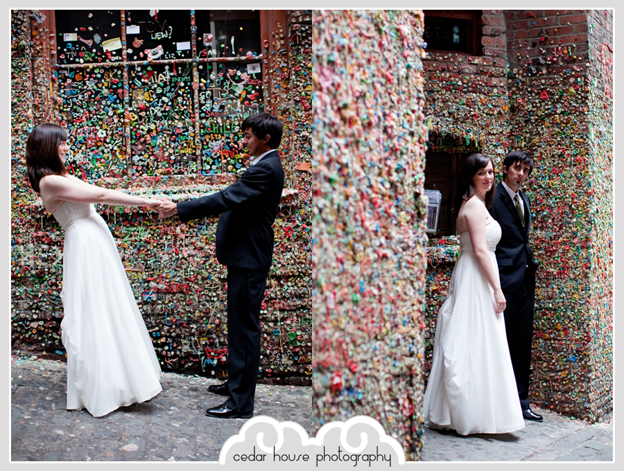 downtown seattle wedding photographer, seattle wedding photographer, pike place market wedding, gum wall wedding photos, seattle skyline wedding, gasworks park wedding photographer, fremont wedding photographer, arlington wedding photographer