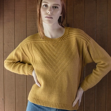 Barnhardt   buy    buy kit   The cropped version of this modern Guernsey inspired pullover is knit in Valley Yarns Amherst.The chevron pattern is in chart form only.