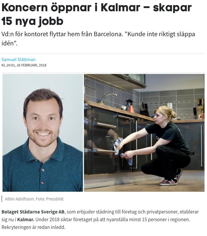 Läs om Albin som är VD på Städarna i Kalmar AB