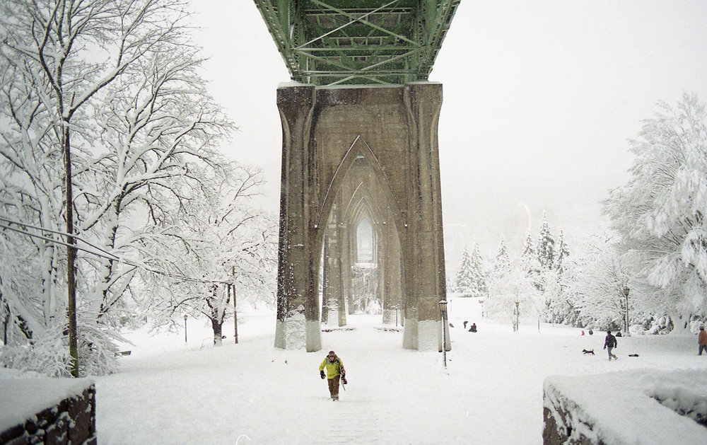 Cathedral park in the snow, portland Oregon, St. John's