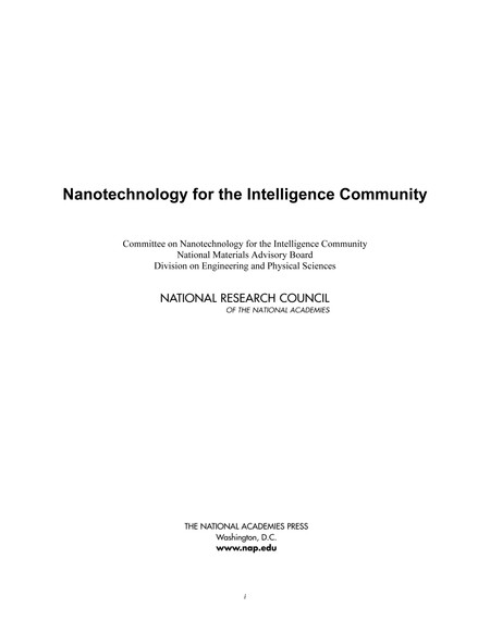 Nanotechnology for the Intelligence Community (2005)