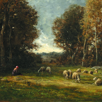 "Chaigneau - ""Shepherd and Flock near Barbizon"""