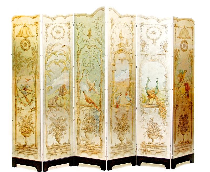 「動物園」主題的房間屏風,飾有鈀金葉、水墨以及日本漆油彩繪。