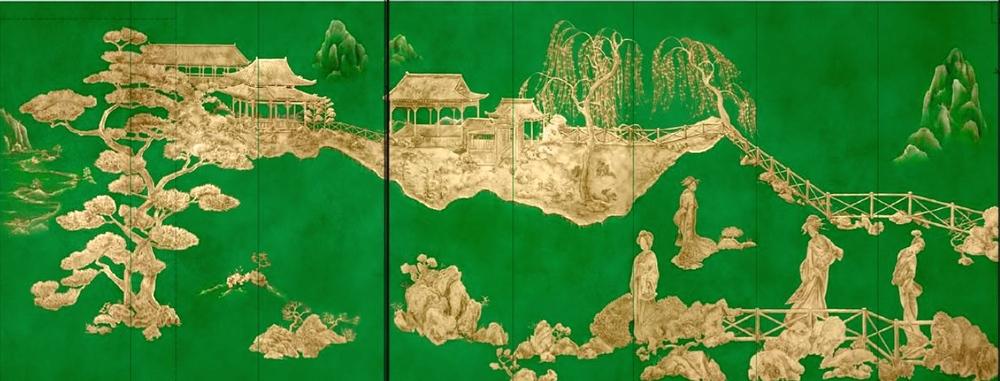 為一位印尼客人居所餐廳所作的玻璃鍍金彩繪牆板。為此項目已完成超過145塊牆板。每塊高3.4米的牆板,可謂是規模和技術的里程碑。設計顧問:Anna Owens Designs。