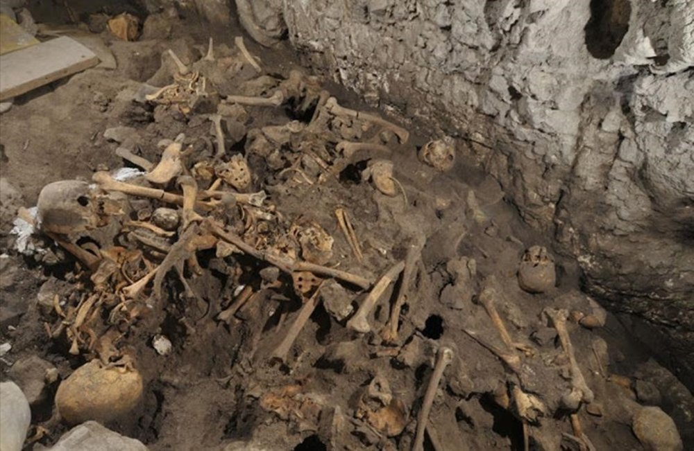 Bones at a dig in Atapuerca, near Burgos, Spain