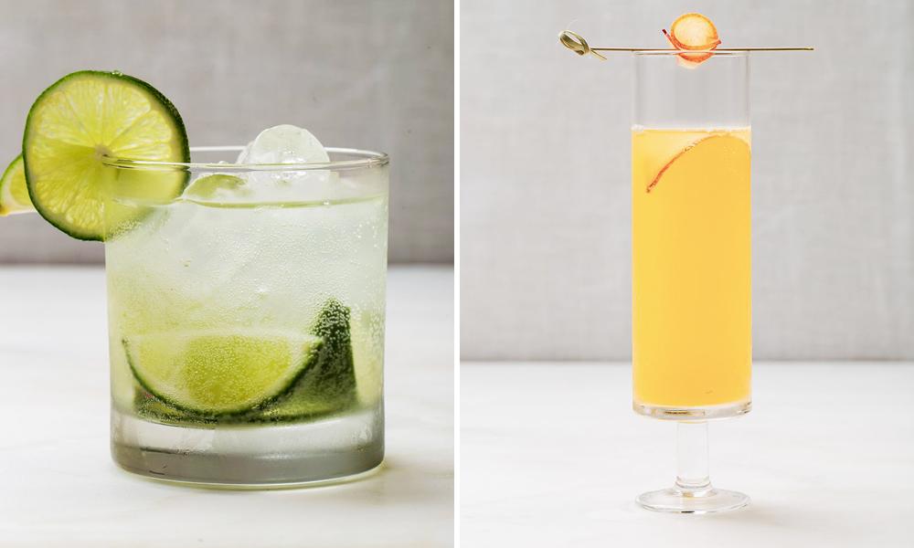 Kaffir Limeade with Gin and Peach Bellini