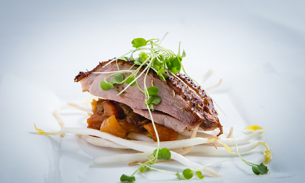 Smoked Tea Duck, Persimmons