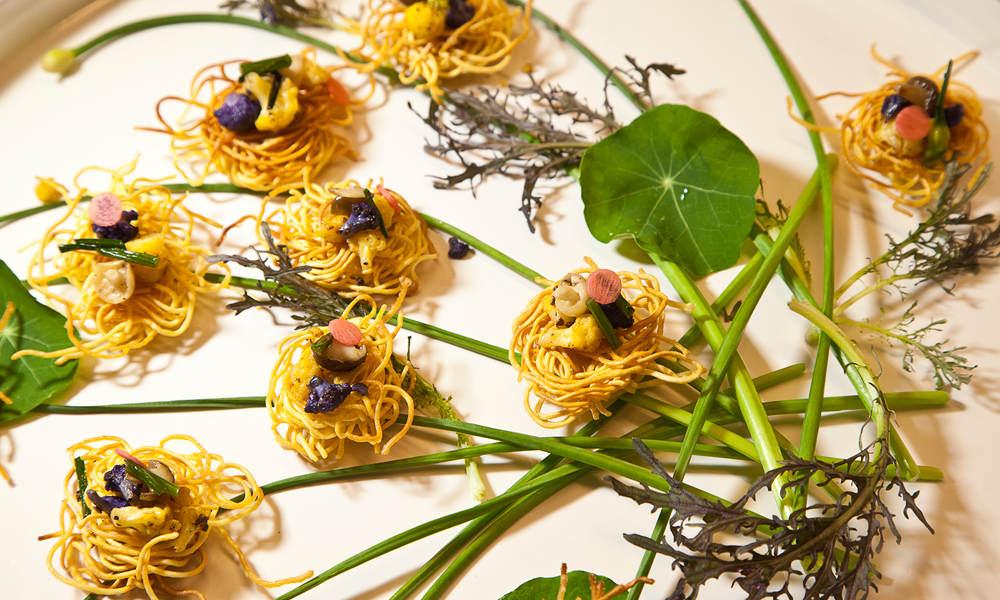 Birds Nest Bites, Seasonal Vegetables