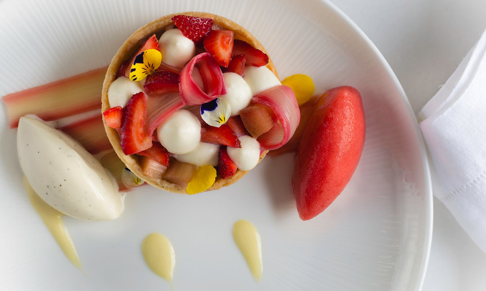 Strawberry Rhubarb Tartlets, Strawberry Sorbet and Vanilla Ice Cream