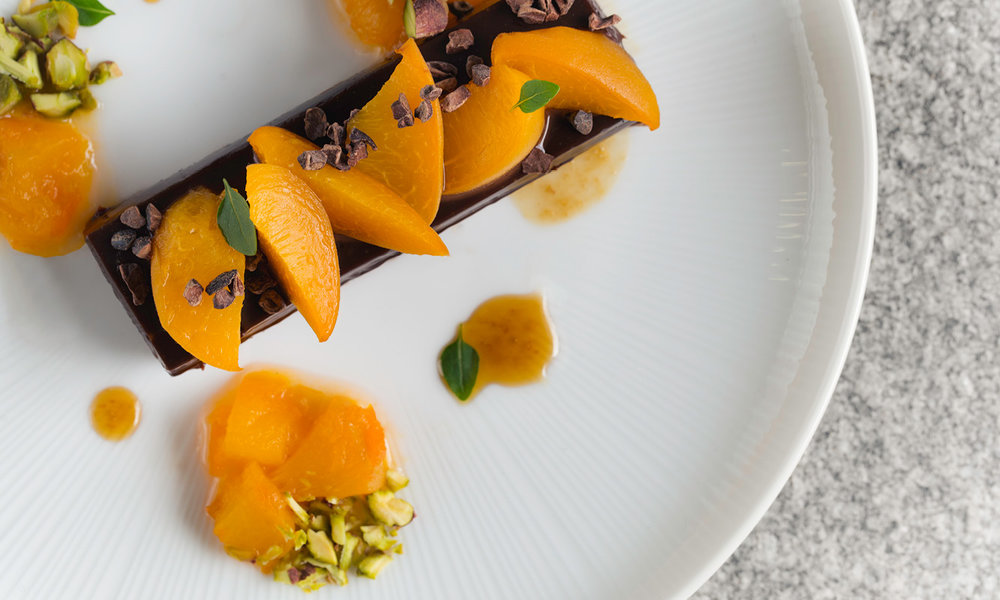 Chocolate Ganache Tart, Poached Apricot