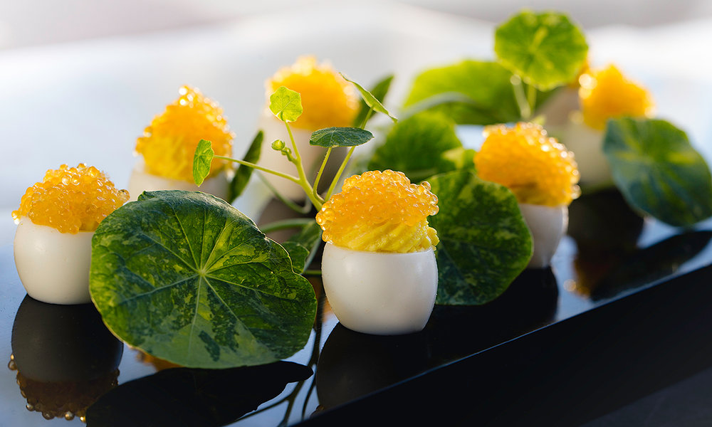 Deviled Quail Eggs, Smoked White Fish Caviar