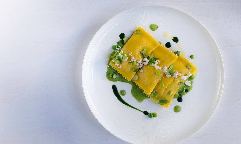 Ravioli, Fresh Ricotta, Mint Purée
