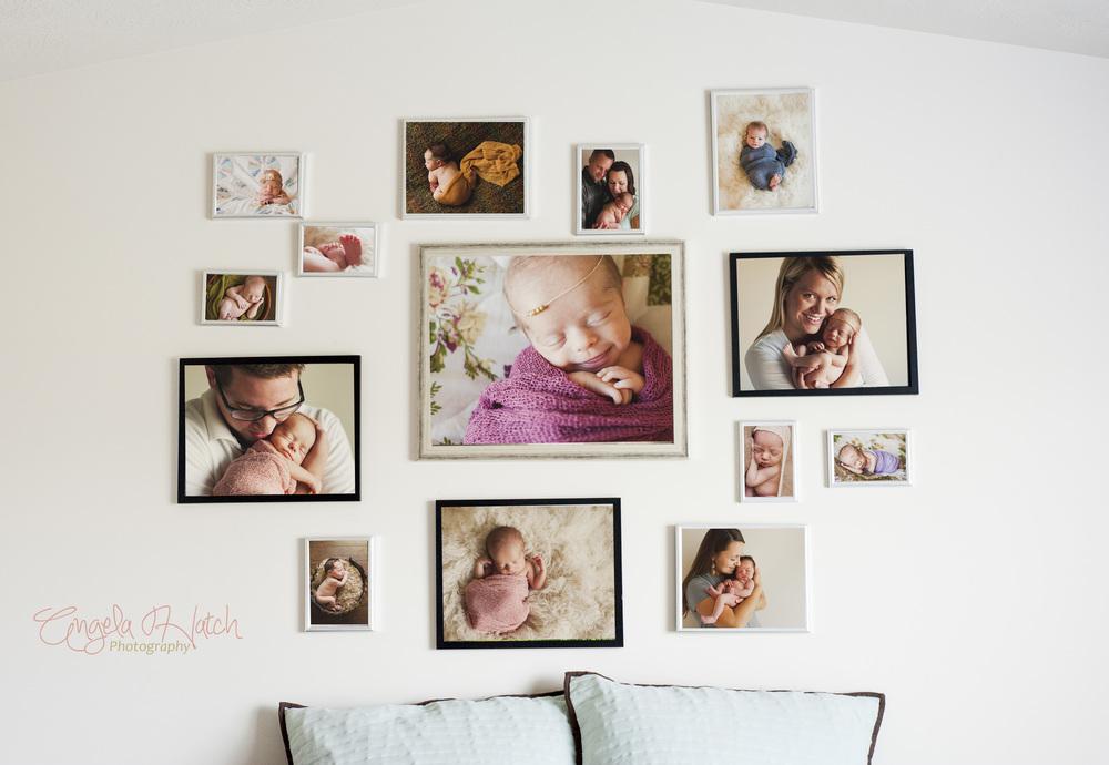wall photo gallery utah newborn photography