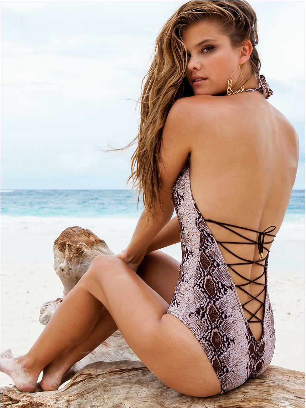 Swimbook swimwear swimsuit Nina Agdal Snakeskin Lace-up Tank by Sauvage