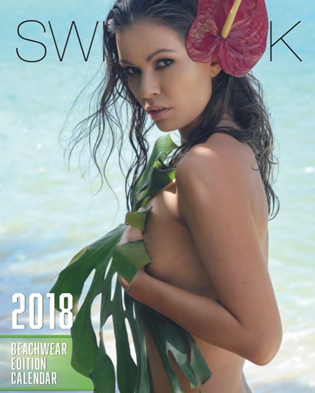 Our absolute favorite time of year🧚‍♂️ @shahol1 featured on the cover of our 2018 calendar. Available now online! MUA @chanzen.artistry 🌺Florals by @paikohawaii #swimwear #swimsuitcalendar #hawaiigirls