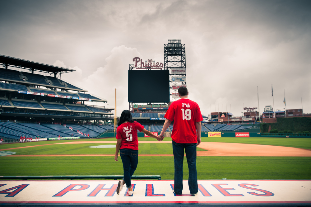 Engagement session held at Citizen Bank Park, Home of the Phillies.