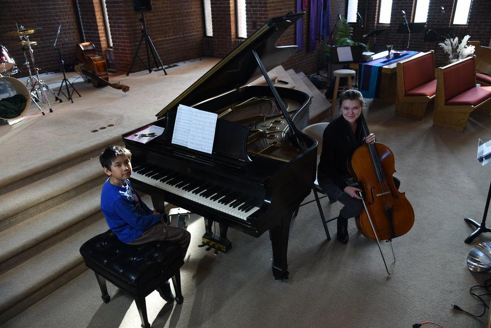 Lucas's Rehearsal with Strings Teacher Haley moore