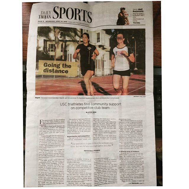 We featured in USC's print media, The Daily Trojan!! Needless to say, this article is a result of all the hard work and perseverance that everyone on @sctriathlon has put in. We would also like to thank @usatriathlon and @usatfoundation for helping us reach our goals! The two grants that we acquired really helped with team logistics, and is now helping @sctriathlon grow bigger!  #triathlon #usat #usatf #thedailytrojan #sports