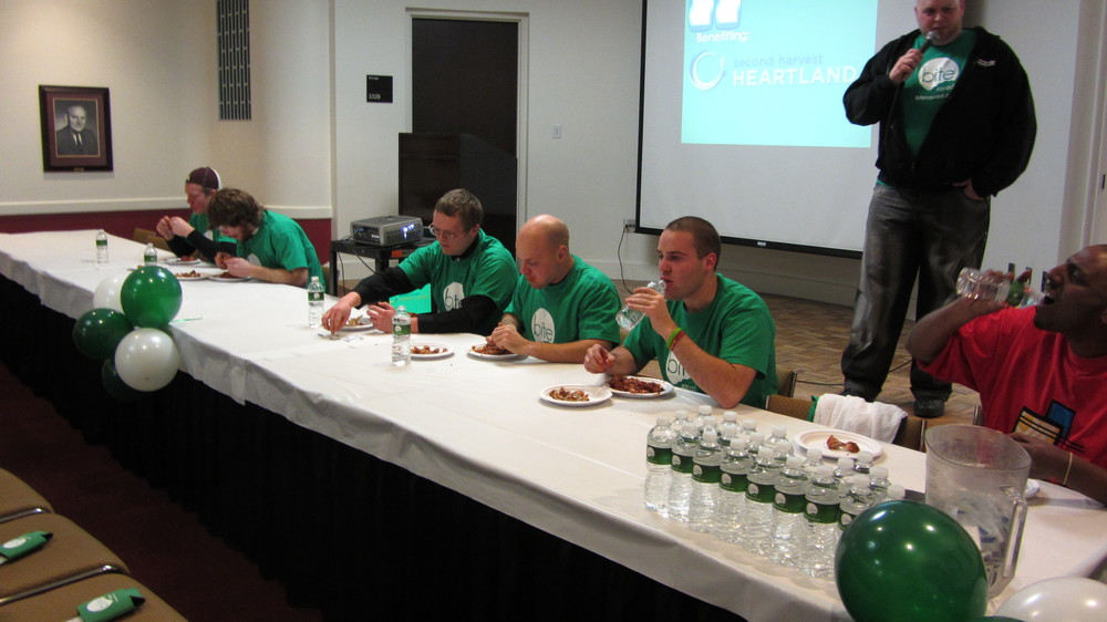 Eating contest at the U of M during finals week. Benefitting Second Harvest Heartland.