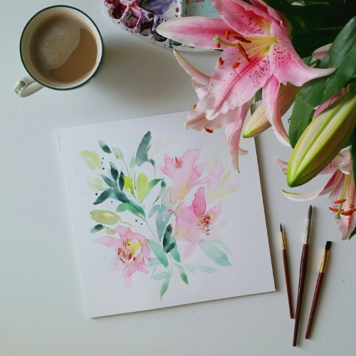 Watercolour flowers pink lilies
